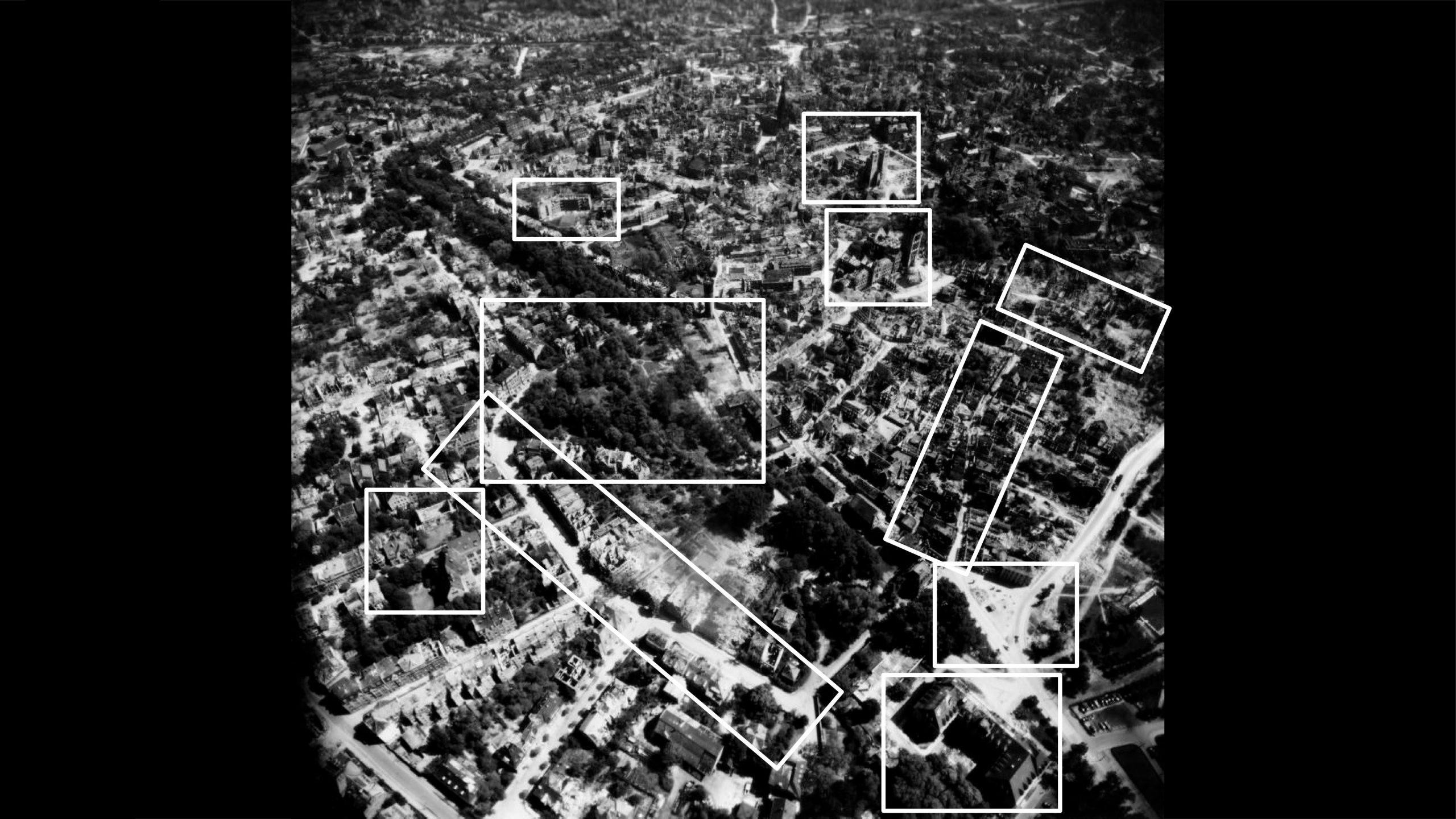 Stadtmuseum Münster: Ausstellung Münster 1945 - Das Stadtzentrum mit der Lambertikirche in Richtung Nordwesten - Foto: Stadtmuseum Münster / Trolley Mission