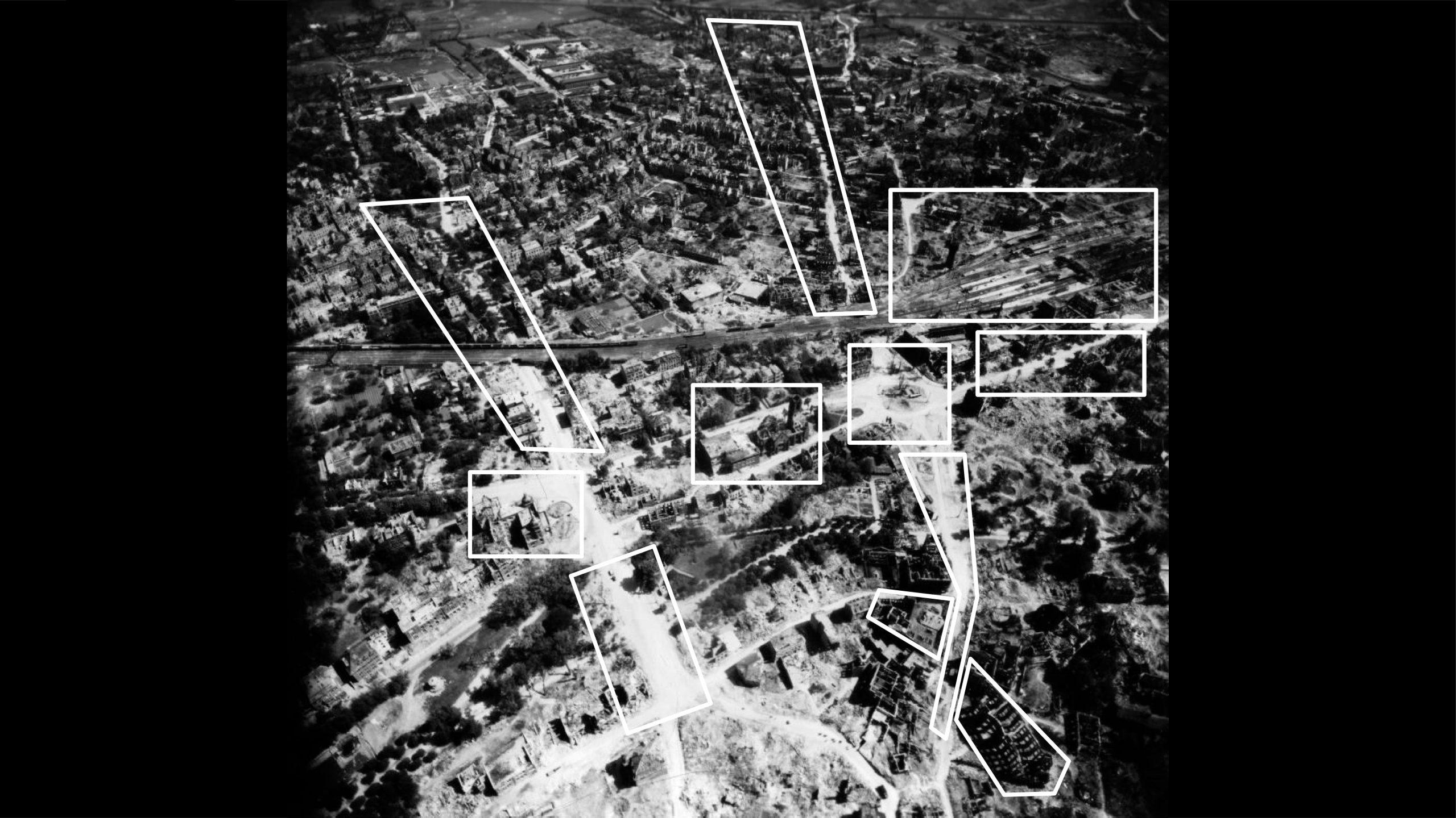 Stadtmuseum Münster: Ausstellung Münster 1945 - Das östliche Stadtzentrum in Richtung Osten - Foto: Stadtmuseum Münster / Trolley Mission