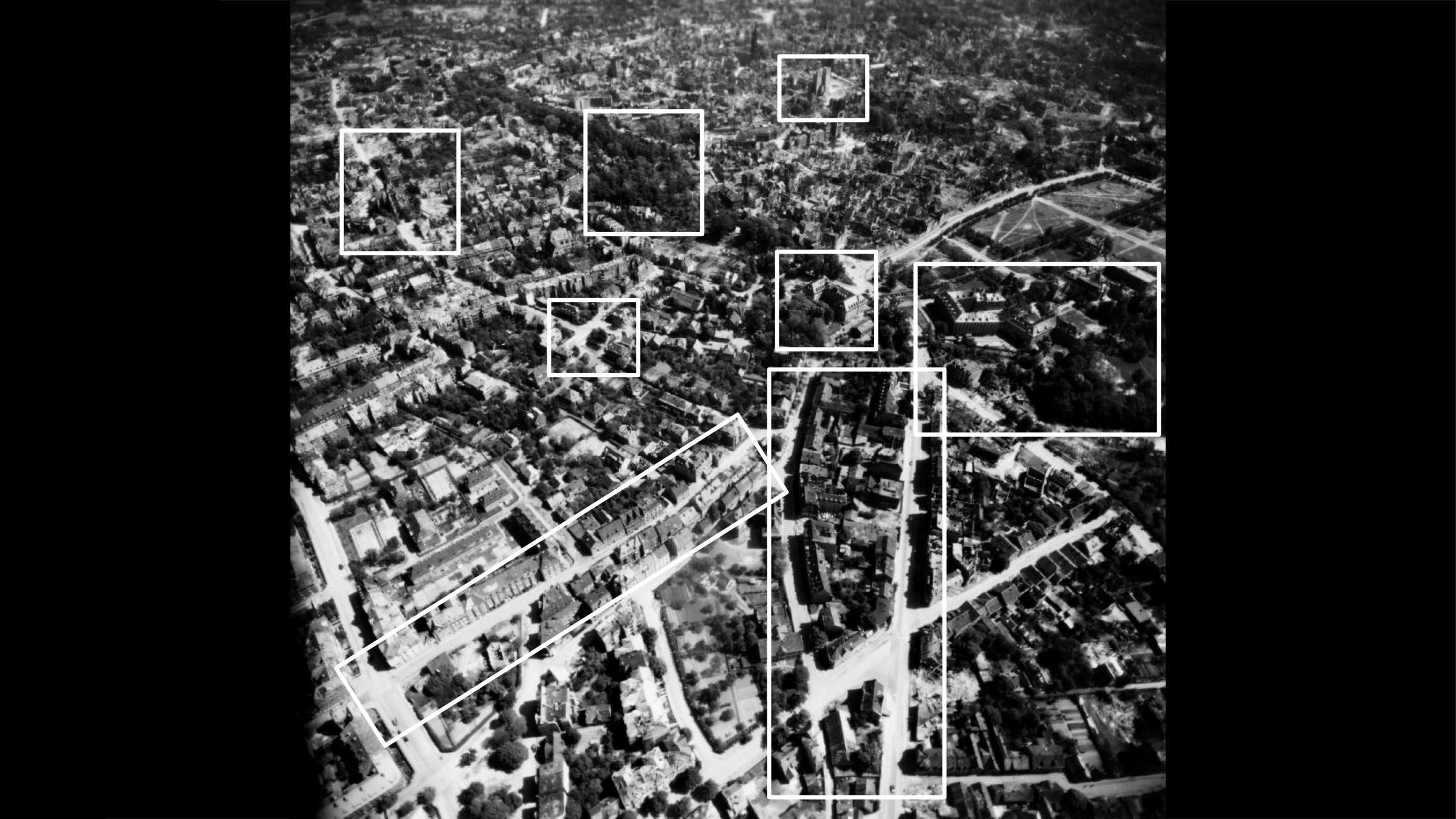 Stadtmuseum Münster: Ausstellung Münster 1945 - Die Steinfurter Straße und das Kreuzviertel in Richtung Südosten - Foto: Stadtmuseum Münster / Trolley Mission