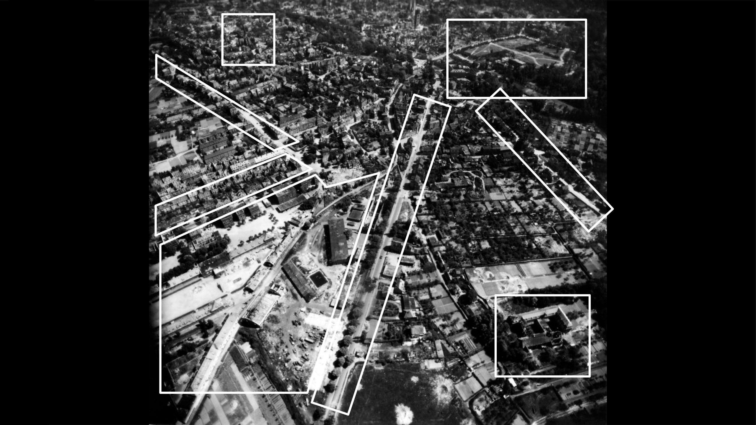 Stadtmuseum Münster: Ausstellung Münster 1945 - Die Steinfurter Straße in Richtung Südosten - Foto: Stadtmuseum Münster / Trolley Mission