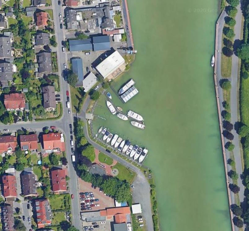 Münster vor Ort: Blitzdorf - Jachtclubhafen - Foto: Google Maps