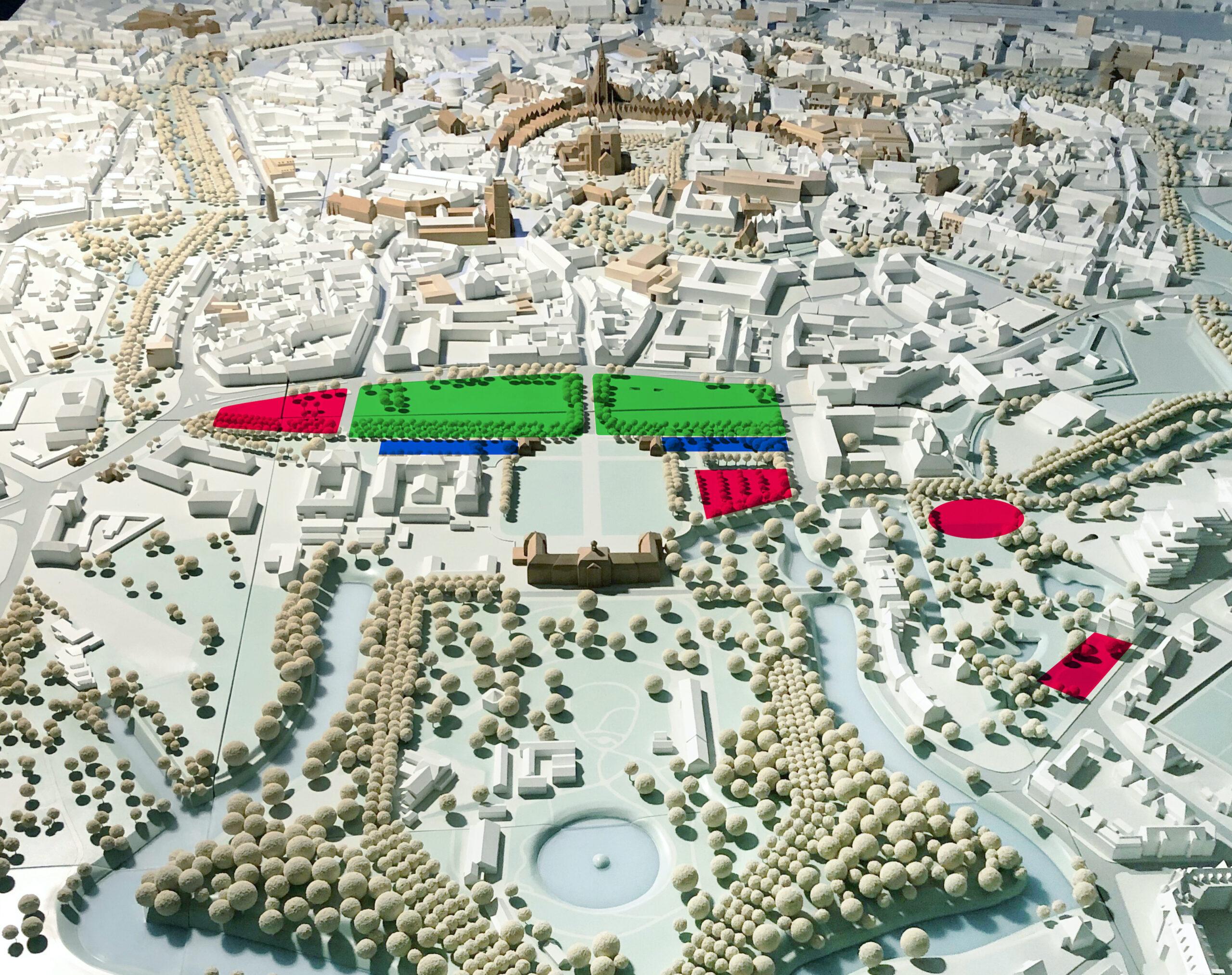 Schlossareal: Vier neue Orte und ein freier Platz - Grafik: Schloss Platz Kultur 2020, Grundlage: Münster Modell