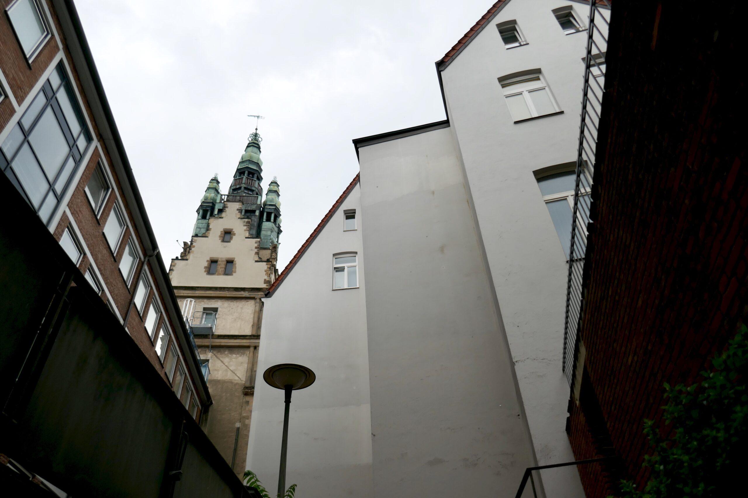 Münster Modell: Hof am Stadthausturm in Münster - Blick von Aussentreppe - Foto: Münster Modell