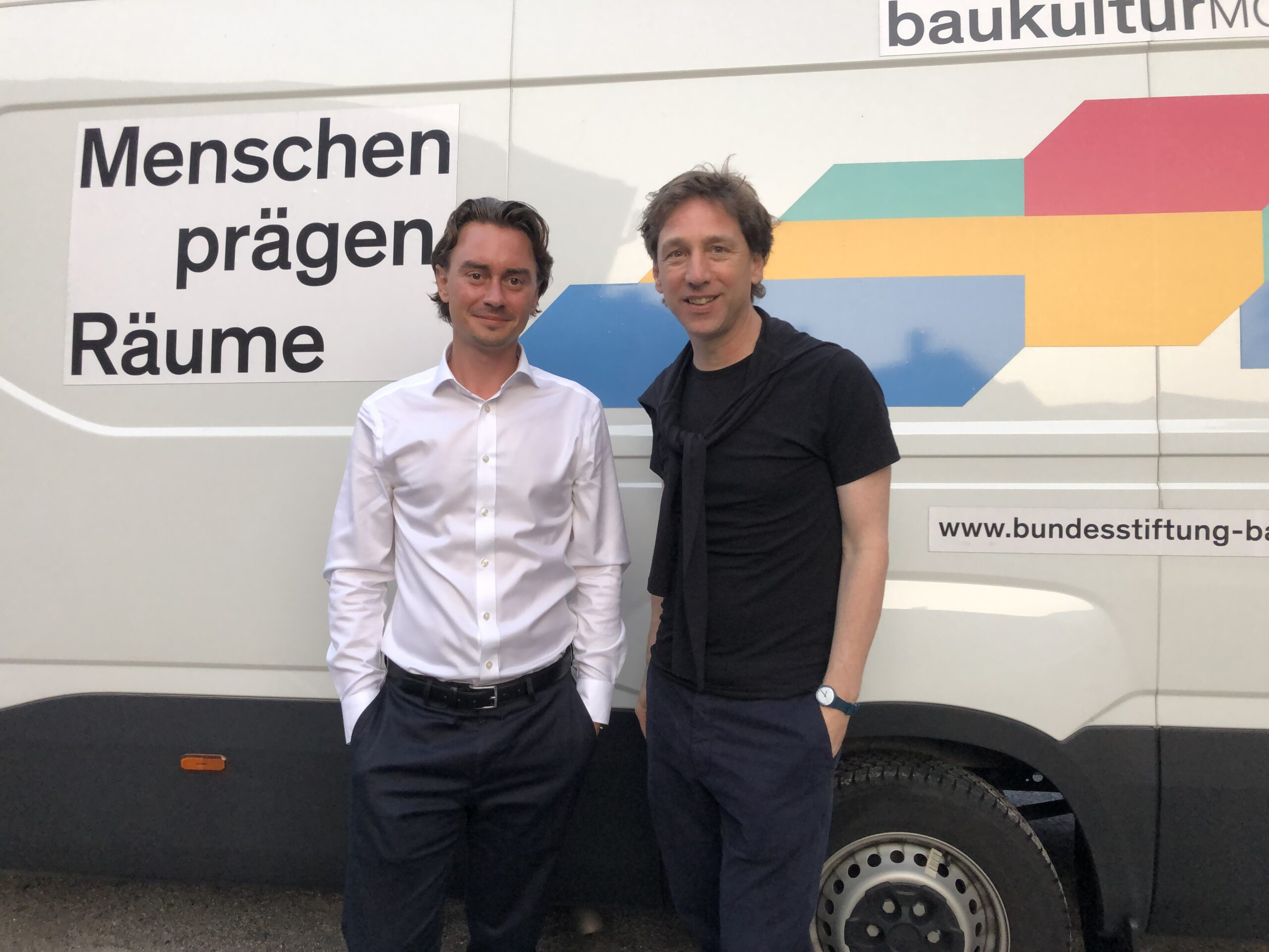 Baukultur-Sommerreise: Station in Münster / Julian Latzko (Bundesstiftung Baukultur) und Stefan Rethfeld (Münster Modell)